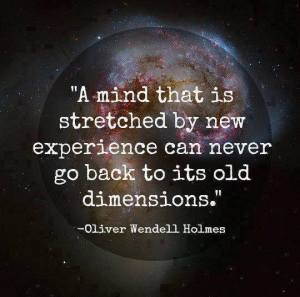 A mind stretched by new experience never returns to old dimensions