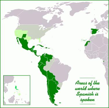 mapa Spanish speaking countries
