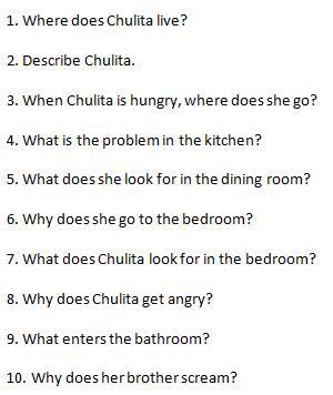 El cuento de la casa de Chulita preguntas