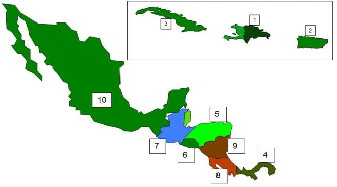 Mexico Central America Caribbean PRACTICE map