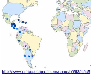 mapa de los paises hispanos ACTIVIDAD