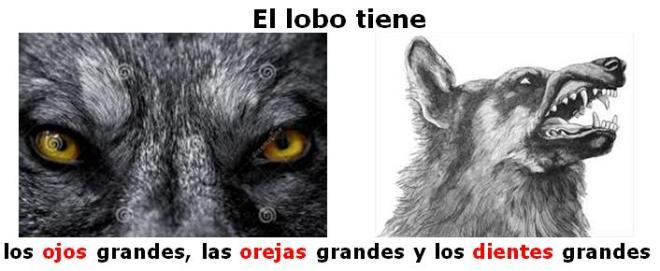 El lobo tiene ojos orejas dientes