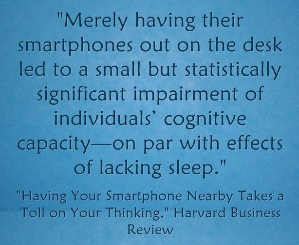 Cellphones on desks has effect of lack of sleep